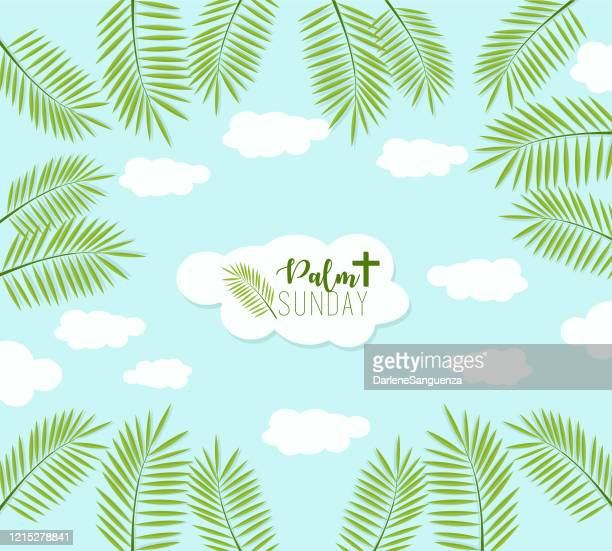 ilustrações, clipart, desenhos animados e ícones de o pôster do palm sunday com palmeiras sai como fronteira. espaço previsto para o texto. - domingo de ramos