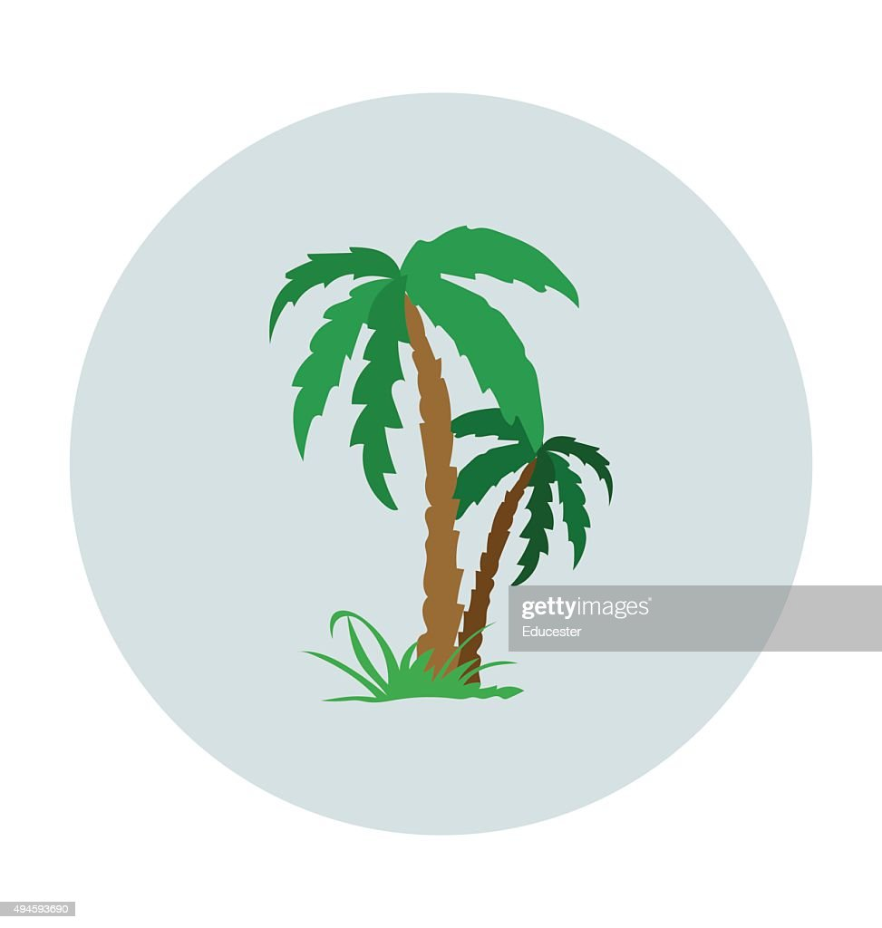 Palm Tree Colored Vector Icon