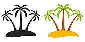 Palm tree desert island, vector logo for tourism three palm trees on an island, flat comic cartoon style
