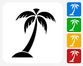 Palm Tree Icon Flat Graphic Design