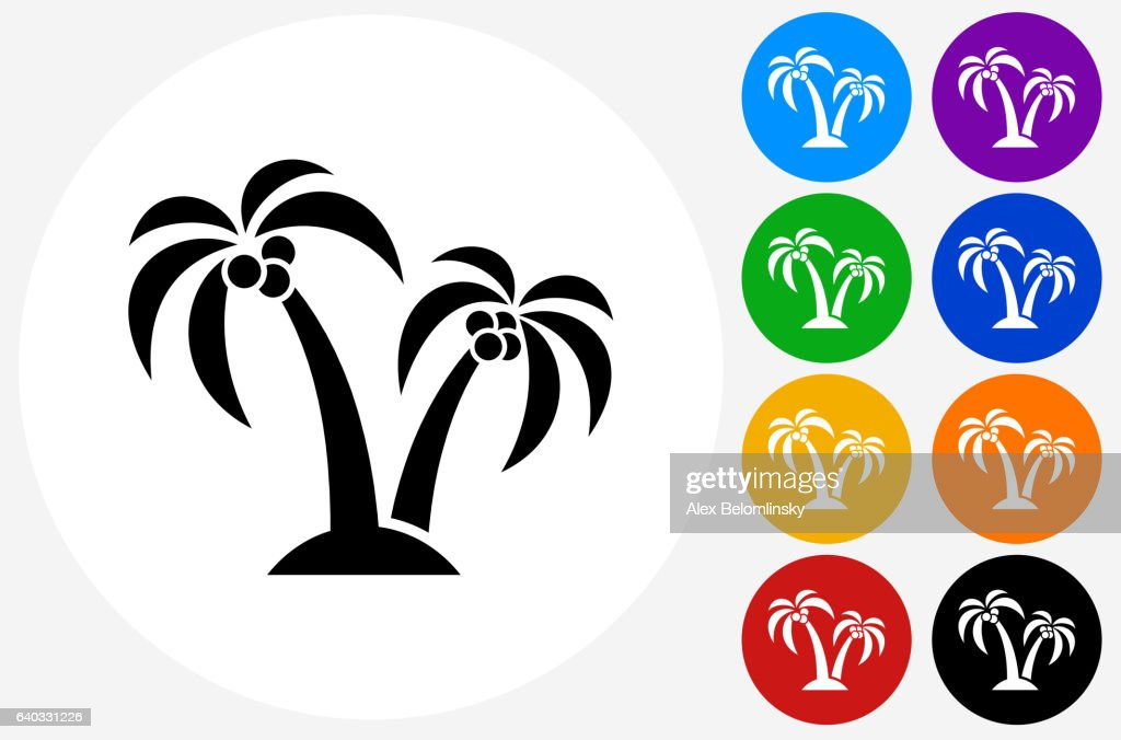 Palm Tree Icon On Flat Color Circle Buttons Vector Art Getty Images
