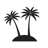 Palm tree icon or sign with coconuts. Two Black palm trees silhouette isolated on white background. Vector illustration.