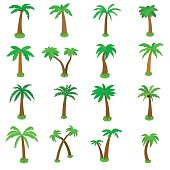 Palm tree icons set, isometric 3d style