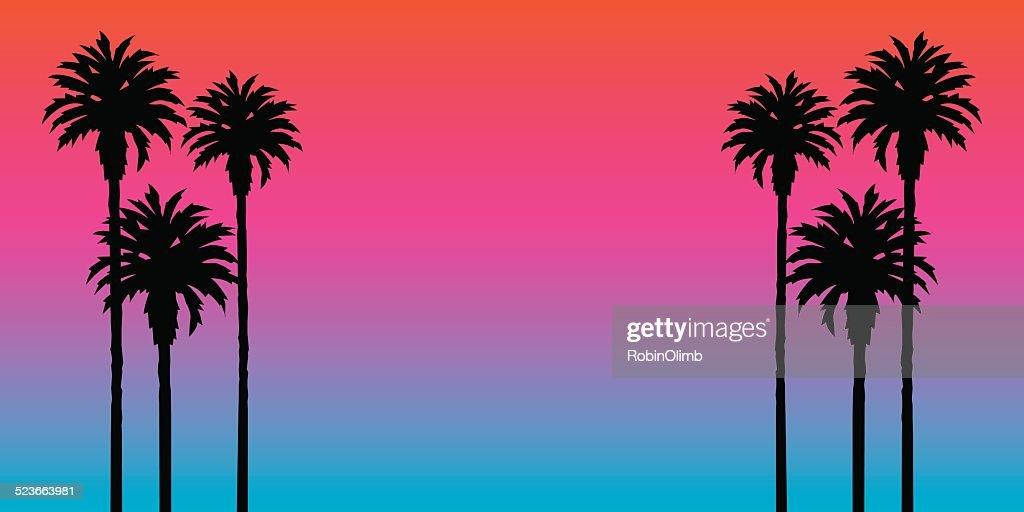 Palm Tree Sonnenuntergang Hintergrund : Stock-Illustration