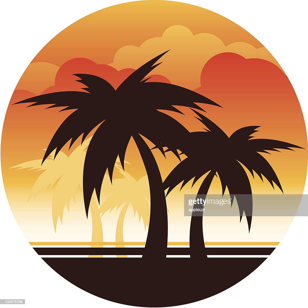 Palm Tree Sunset : Stock Illustration