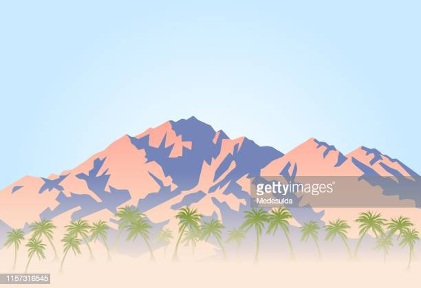 palm trees and hot desert at the foot of the mountain - mountain stock illustrations