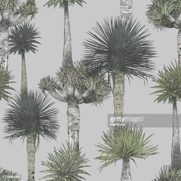 palm trees green seamless repeat pattern - coconut leaf stock illustrations, clip art, cartoons, & icons