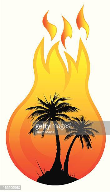 Palm trees in a fireball - VECTOR