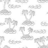 Palm trees on the island doodle. A trip to Hawaii doodle seamless pattern.