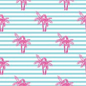 Palm trees seamless vector pattern.