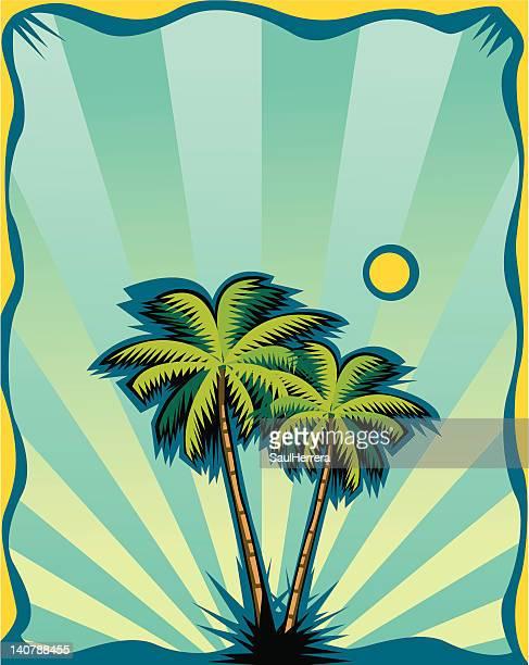 ilustraciones, imágenes clip art, dibujos animados e iconos de stock de fondo del póster de palmeras - salina estado natural de terreno