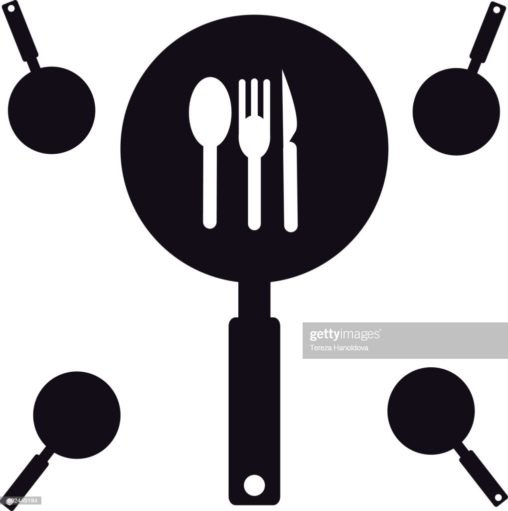 Pan with fork and spoonon white background. Vector illustration.