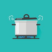 Pan with steam on gas stove fire cooking some boiling food vector illustration isolated, flat cartoon saucepan and kitchen stove