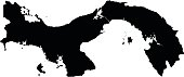 Panama black map on white background vector