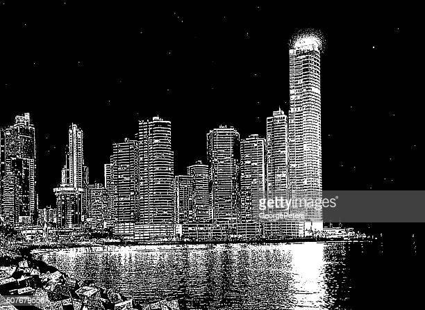 panama city, panama. central america, skyline - panama city stock illustrations, clip art, cartoons, & icons