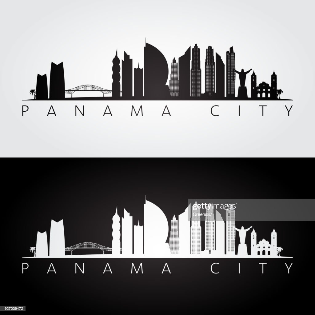 Panama City skyline and landmarks silhouette, black and white design, vector illustration.