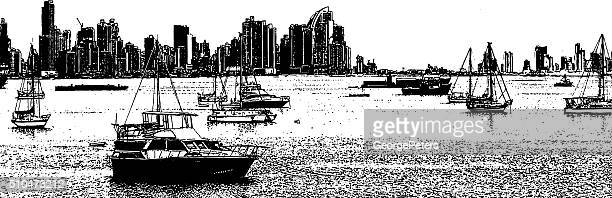 Panama City Skyline and Sailboats