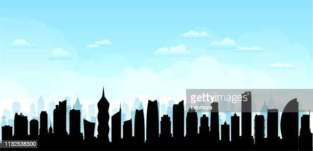 panama city skyline (all buildings are complete and moveable) - panama city panama stock illustrations, clip art, cartoons, & icons