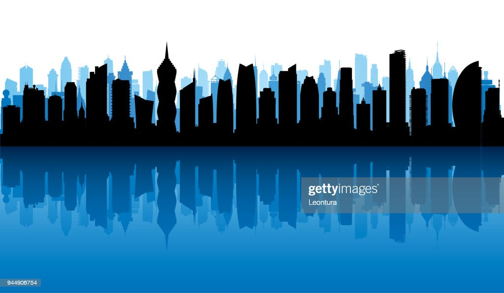 Panama City Skyline (All Buildings Are Complete and Moveable) : stock illustration