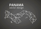 Panama dark vector contour triangle perspective map