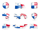 Panama Flags Collection. Flags and contour map.