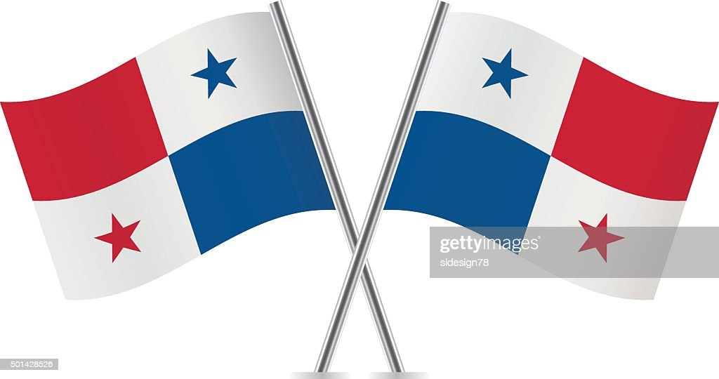 Panama flags. Vector.