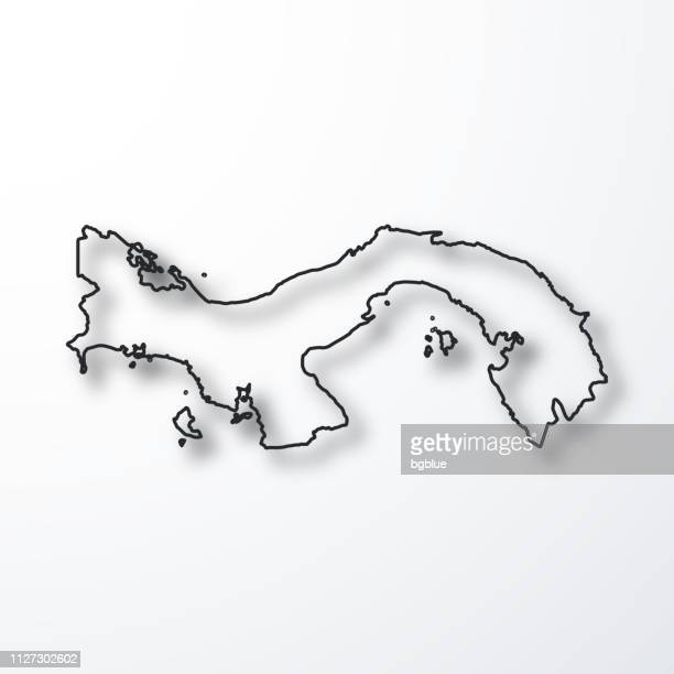 panama map - black outline with shadow on white background - panama stock illustrations, clip art, cartoons, & icons