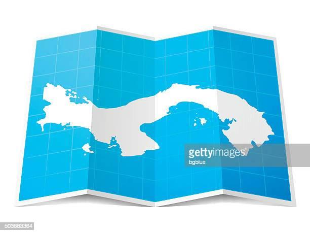 panama map folded, isolated on white background - panama city stock illustrations, clip art, cartoons, & icons