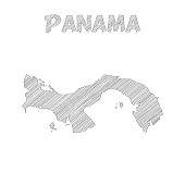 Panama map hand drawn on white background