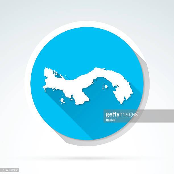 Panama map icon, Flat Design, Long Shadow