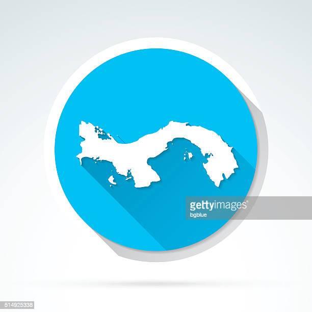 panama map icon, flat design, long shadow - panama city stock illustrations, clip art, cartoons, & icons