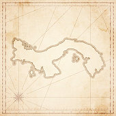 Panama map in retro vintage style - old textured paper