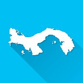 Panama Map on Blue Background, Long Shadow, Flat Design