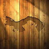 Panama Map on lit Wooden Background