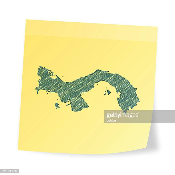 panama map on sticky note with scribble effect - panama city panama stock illustrations, clip art, cartoons, & icons