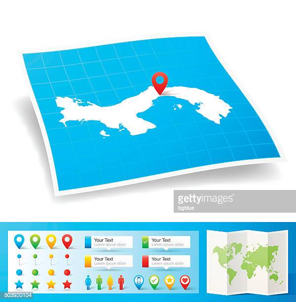 panama map with location pins isolated on white background - panama city panama stock illustrations, clip art, cartoons, & icons