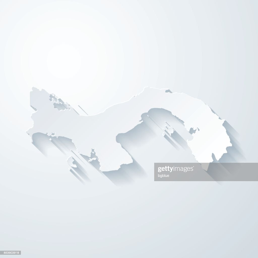 Panama map with paper cut effect on blank background : stock illustration