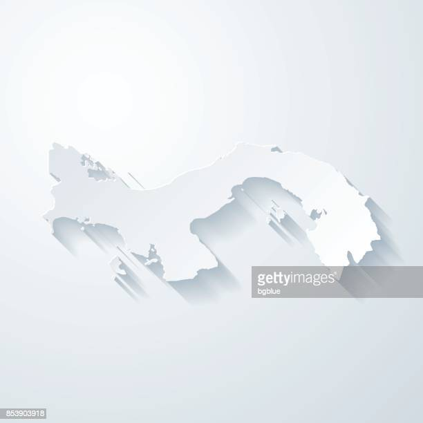 panama map with paper cut effect on blank background - panama stock illustrations, clip art, cartoons, & icons