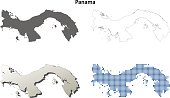 Panama outline map set
