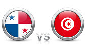 Panama vs. Tunisia - Match 46 - Group G - 2018 tournament. Shiny metallic icons buttons with national flags isolated on white background.