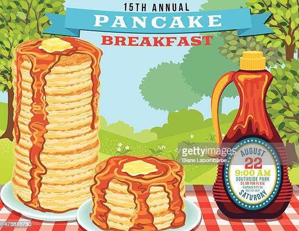 ilustrações de stock, clip art, desenhos animados e ícones de panqueca de pequeno-almoço convidar poster template - mesa cafe da manha
