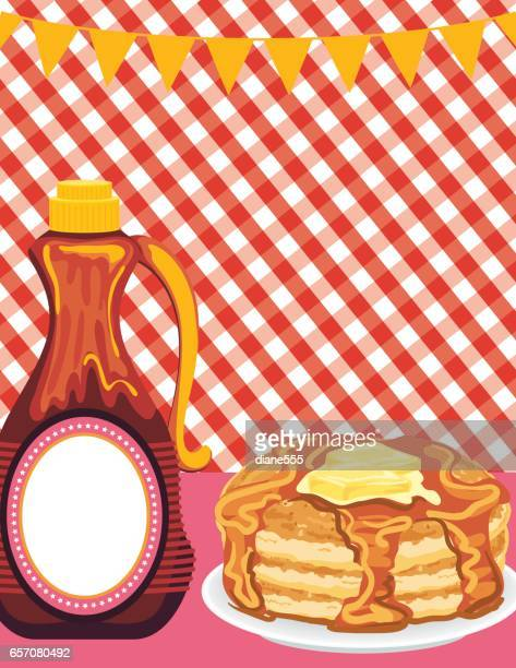 Pancake Breakfast On Checkered Background