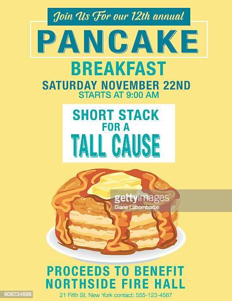 pancake breakfast poster template - fundraising stock illustrations