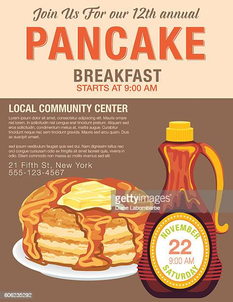pancake breakfast poster template - maple syrup stock illustrations
