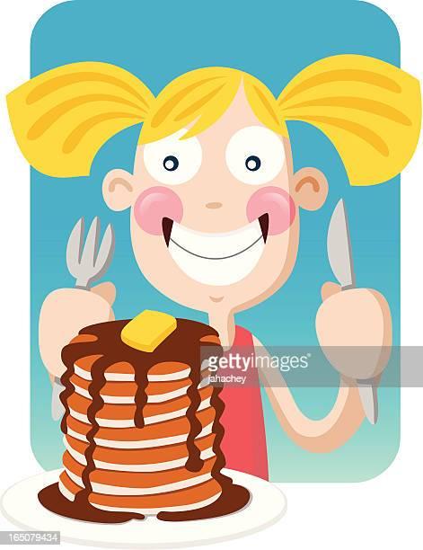 ilustraciones, imágenes clip art, dibujos animados e iconos de stock de crep chica - comer