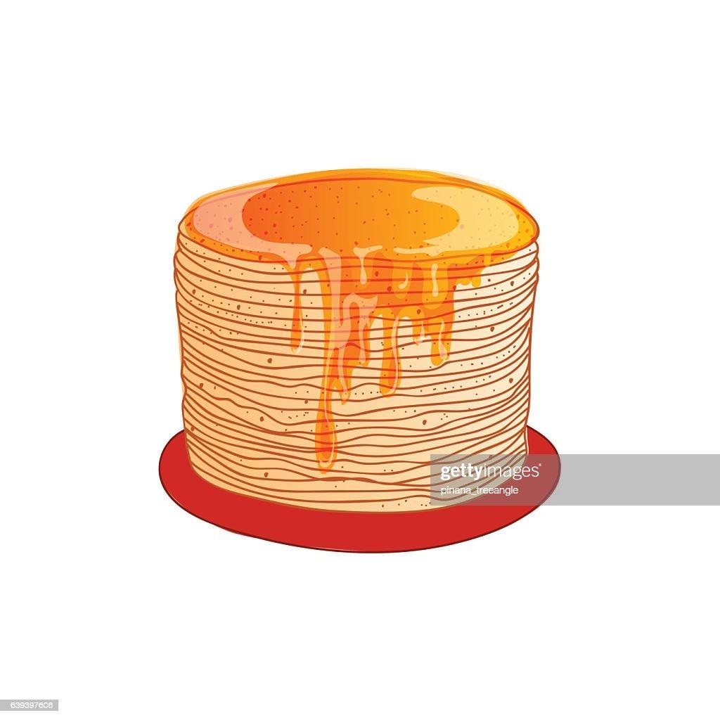 Pancake is a symbol of Russian holiday Maslenitsa, vector