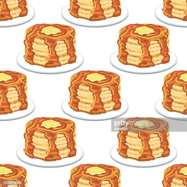 pancakes and syrup seamless pattern - maple syrup stock illustrations