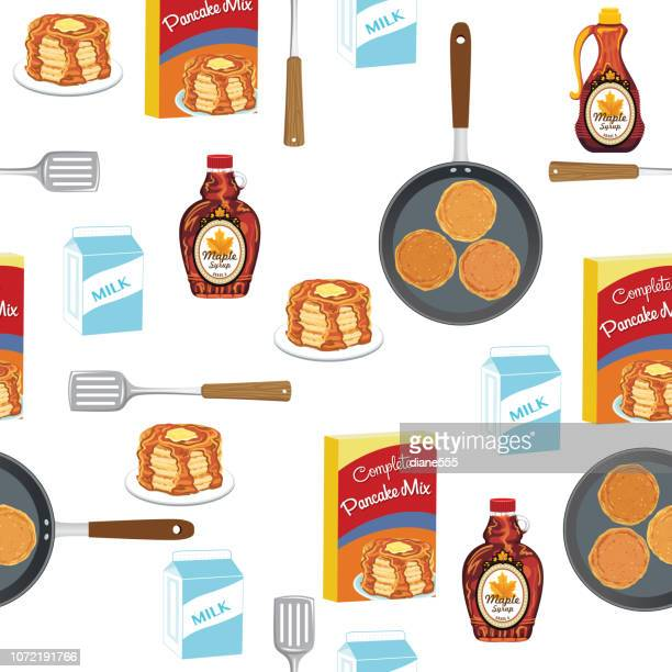 pancakes breakfast foods seamless pattern - maple syrup stock illustrations