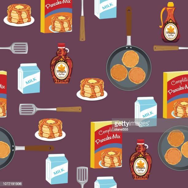 Pancakes Breakfast Foods Seamless Pattern