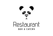 Panda Bear and bar restaurant icon design